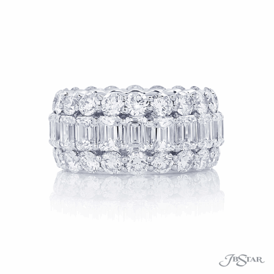 Dazzling diamond eternity band featuring emerald cut & brilliant cut diamonds in a shared prong setting. Totaling GVS2 10.92 karats. This ring is size 6, the price may differ if it's made in a smaller or larger ring size.