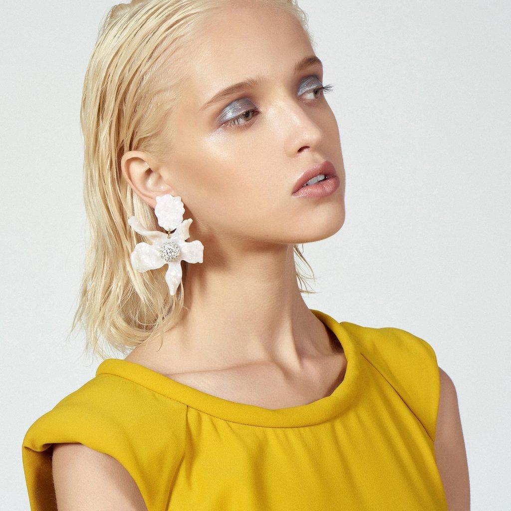 CRYSTAL LILY FLOWER EARRINGS - White - alternate