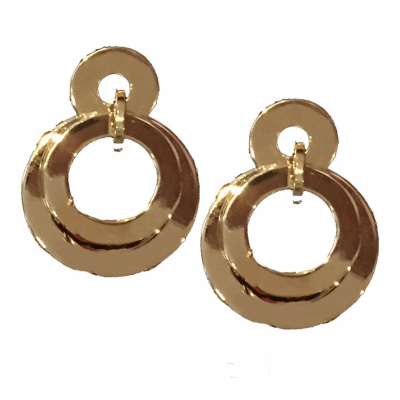 """This MODERN GOLDEN HOOP EARRING is made from flattened INTERTWINING14k GOLD plated RINGS  2 1/2"""" DROP with a SURGICAL STEEL POST CLOSURE."""