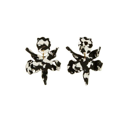 "Our best selling earring now in a smaller scale. 2 1/4"" by 1 3/4"" hand swirled black and white acetate lily flower with a surgical steel post closure. Lightweight and wearable day to night."