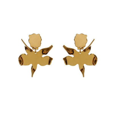 """14k gold plated lily earring 2 1/4"""" by 1 3/4""""  with a surgical steel post closure and omega clasp for extra security. Medium weight and wearable for day and night."""