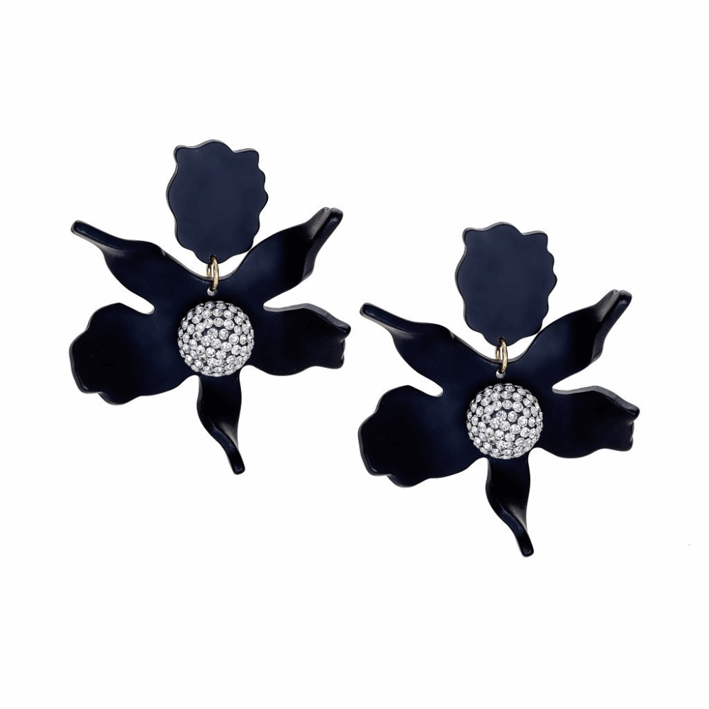 Crystal Lily Earring - Black