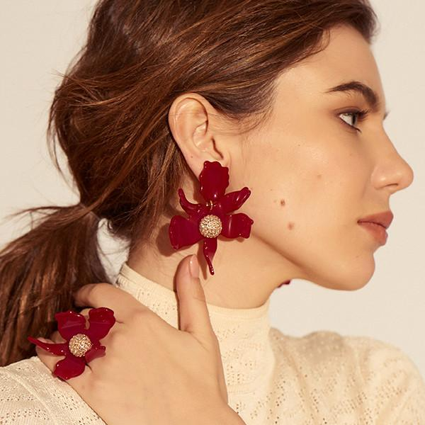 CRYSTAL LILY EARRING - Raspberry - alternate