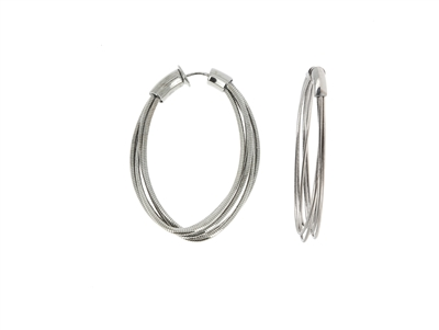 DNA Spring Small Oval Hoop Earrings. Sterling Silver with a Ruthenium Plating. Sterling Silver mesh gives this piece it's flexibility.