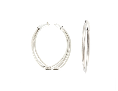 DNA Spring Small Oval Hoop Earrings. Sterling Silver with a Rhodium Plating. Sterling Silver mesh gives this piece it's flexibility.