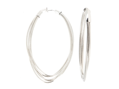 Large DNA Spring Oval Earrings. Sterling Silver with a Rhodium Plating. Sterling Silver Mesh gives this piece it's flexibility.