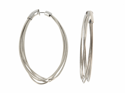 Large DNA Spring Oval Earrings. Sterling Silver with a Ruthenium Plating. Sterling Silver Mesh gives this piece it's flexibility.
