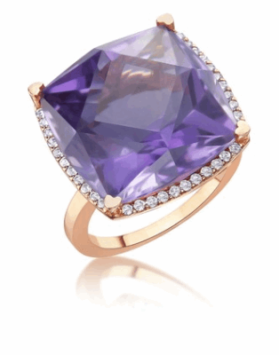 18K Rose Gold Ring with Square Cut 17mm Amethyst and Diamonds