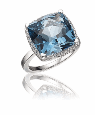 18K white gold blue topaz square ring with diamonds