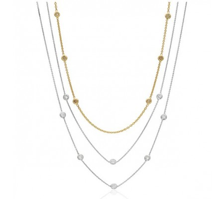 Bezel Set Diamond Necklace in White Gold - alternate