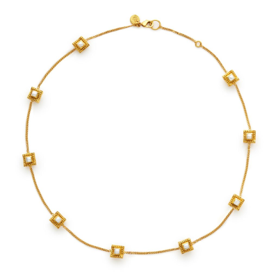Our Isabel Delicate Station Necklace features nine square gemstone stations with a raised bead surround in 24k gold plating. View this piece and shop now: