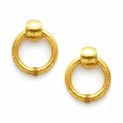 These statement doorknocker clip-on earrings have a shimmering hammered 24k gold plate finish, decorated with bead-in-diamond motif. Shop now: