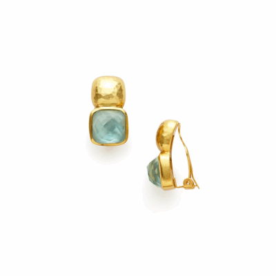 Our Catalina Clip-On Earrings feature a faceted cushion shape gemstone topped with a hammered soft square, plated in 24k gold. Shop now: