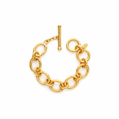 Our small Catalina Link Bracelet is made of up of links with a shimmering hammered 24k gold finish, and toggle is decorated with pearl endcaps. Shop now: