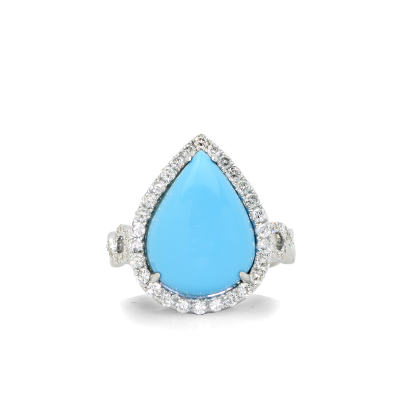 Ladies 5.68ct. turquoise,  .79ct. diamond and 18K white gold ring.