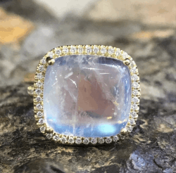 Closeup image for View Boulder Opal Twisted Diamond Ring By Lauren K