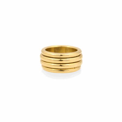 A solid 18K gold band that has the look of a layered piece featuring four bands. The center two bands can turn and have subtle movement. Modern in feeling, this ring is actually a traditional piece referenced from an Ethiopian ring dating back to the late 1800's.