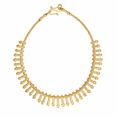 Each bead is made by hand in this strand of 18K gold in a stunning homage to traditional heritage jewelry of Ethiopia. This is a one of a kind collector's piece from our studio.