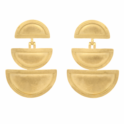 "Inspired by the traditional jewelry of Ethiopia, these classic heritage earrings are handmade of 18K gold and measure 1 3/4"" long and 1 1/8"" wide."