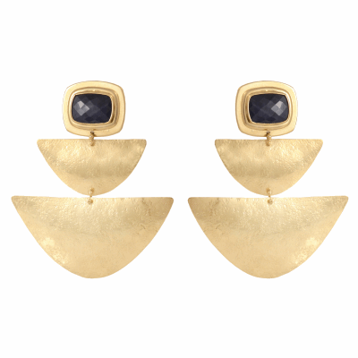 "Hand made of 18K gold and fitted with faceted sapphire slices, these one of a kind statement earrings measure 2 1/2"" long and 2 1/8"" wide.  Though they are large, they are designed to be light enough that they do not weigh down the earlobe."