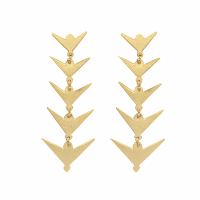 """From our Contemporary African collection, these chandelier earrings are derived from traditional Maasai jewelry designs and given a modern twist with a hand hammered finish.  These earrings are hand made and measure 2 1/4"""" long and 7/8"""" wide."""
