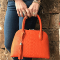 Alternate image 1 for Small Dome Orange Python By Lanae Exotic Handbags