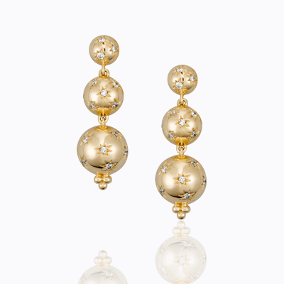 18K Cosmos Triple Drop Earrings with diamond - Temple St. Clair