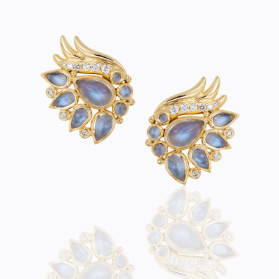 18K Wing Earrings with royal blue moonstone and diamond - Temple St. Clair
