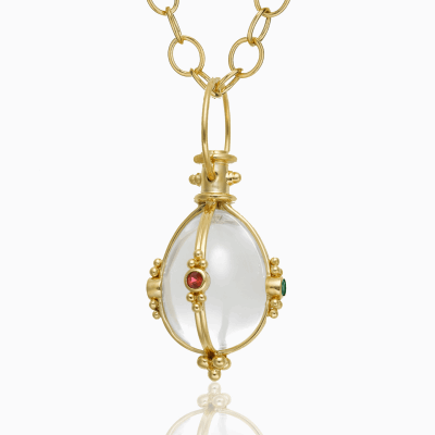 18K Classic Faceted Amulet with oval rock crystal, ruby, emerald and blue sapphire - Temple St. Clair