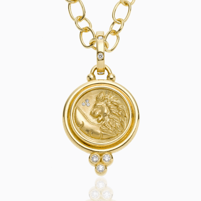 18K Lion Coin Pendant with diamond - Temple St. Clair We offer complimentary engraving with any purchase of a Lion Coin Pendant. Please contact us at help@shoplanae.com for more details.