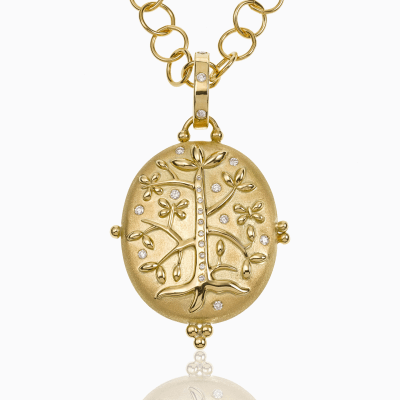 18K Tree of Life Locket with diamond - Temple St. Clair  We offer complimentary engraving with any purchase of a Tree of Life Locket. Please contact us at help@shoplanae.com for more details.