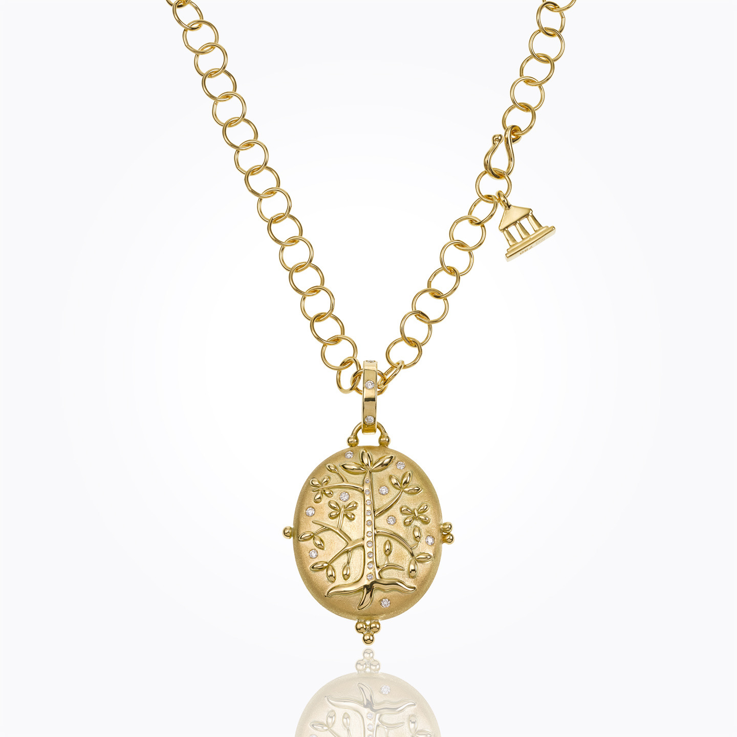 18K Tree of Life Locket with diamond - alternate