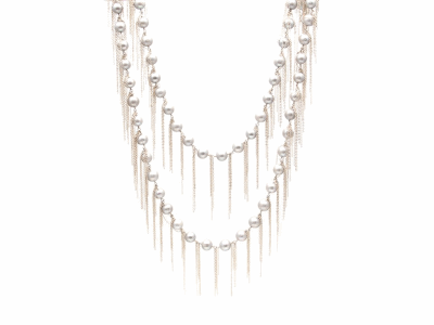 "62"" Pearl Fringe Necklace Sterling Silver Silver Fresh Water Pearls Length 62"" S Hook Can be worn multiple ways"