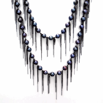 "Ink Fresh Water Pearl Necklace with Fringe Oxidized Sterling Silver Fresh Water Pearls 62"" Length"