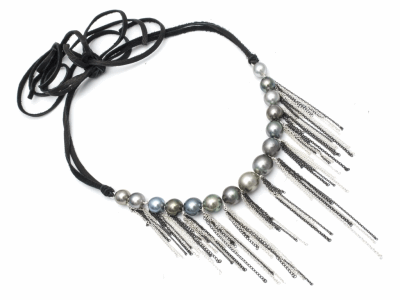 "Fringe Leather Choker Sterling Silver Oxidized Sterling Silver Tahitian Pearls Leather Tie Length 43"" Adjustable"