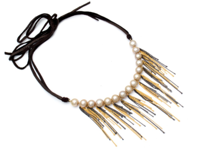 """Fringe Leather Choker Oxidized Sterling Silver Gold Fill Gold Fresh Water Pearls Leather Tie Length 43"""" Adjustable"""