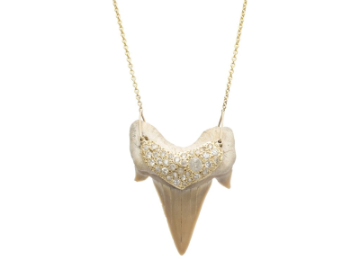 "Diamond Shark Tooth Necklace 18K Yellow Gold Diamonds Ancient Shark Tooth Length 16""- 20"" Adjustable Chain Shark Tooth is Unique"