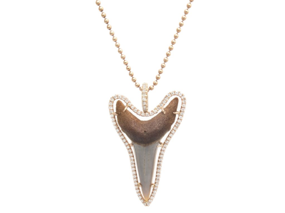 """PaveDiamond Shark ToothNecklace 14K Yellow Gold Diamonds Length 19"""" Chain Shark Tooth is Unique"""