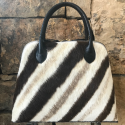 Alternate image 1 for Large Dome - Winter Zebra Fur With Black Ostrich Trim By Lanae Exotic Handbags