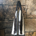 Alternate image 2 for Large Dome - Winter Zebra Fur With Black Ostrich Trim By Lanae Exotic Handbags