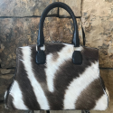Alternate image 2 for Winter Zebra Bell With Brown Ostrich Trim By Lanae Exotic Handbags