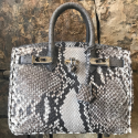 Alternate image 1 for Anna 30 -Natural Python With Grey Ostrich Trim By Lanae Exotic Handbags
