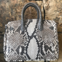 Alternate image 2 for Anna 30 -Natural Python With Grey Ostrich Trim By Lanae Exotic Handbags