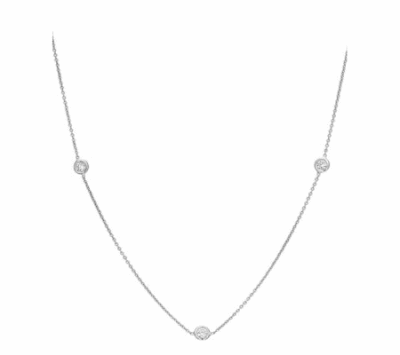This beautiful diamond necklace is a classic in every modern jewelry box. This necklace is 18k white gold and diamond 0.24 cts