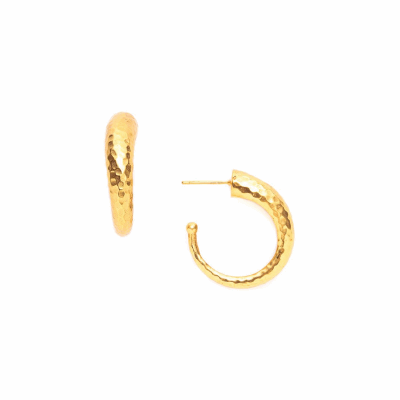 Glossy hammered hoop goes from thick to slender as it curves around. Hoop diameter: Small 0.75 inches/Medium 1.25 inches/Large 1.75 inches. 24K gold plate. Shop THE BALI COLLECTION