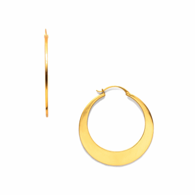 Sleek lines and a glossy finish--minimal weight, maximum impact. Hoop diameter: Small 1 inch/Medium 1.25 inches/Large 1.75 inches. 24K gold plate.