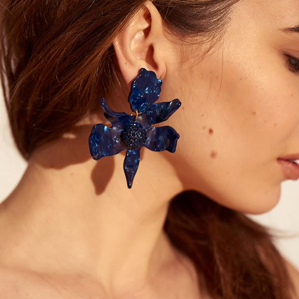 CRYSTAL LILY EARRING - navy - alternate
