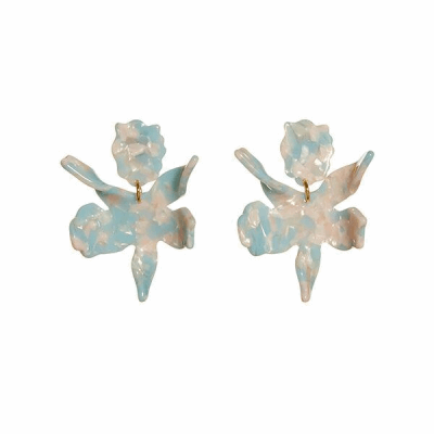 "Our best selling earring now in a smaller scale. 2 1/4"" by 1 3/4"" hand swirled mint and ivory acetate lily flower with a surgical steel post closure. Lightweight and wearable from day to night."