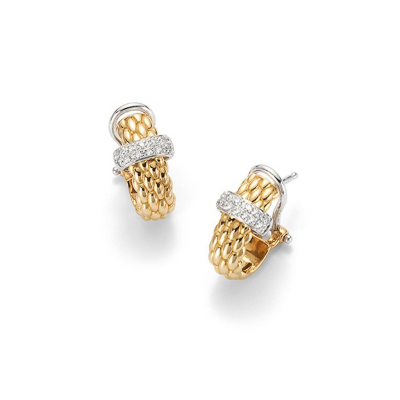 From the Fope Vendome collection, stunning earrings in 18k Yellow Gold with a 18k white gold & diamond Fope decal. The total diamond weight is 0.20cts. Fope is an international goldsmith based in Vicenza, Italy. Founded in 1929, Fope is an innovation-orientated brand which offers quality, style and precision in each of its custom-made designs.