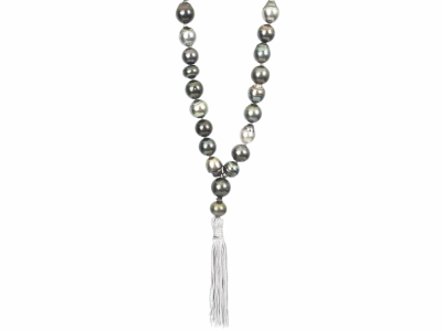"Tahitian Pearl Strand with Tassel 65 Tahitian Pearls Grey Graduation Tassel Length 42"" *Pearls meant to have imperfections"